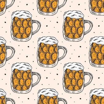ビールのグラスとオクトーバーフェストのシームレスパターン