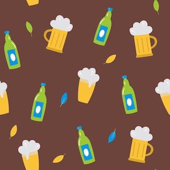 ビールの葉のビールグラスのボトルとオクトーバーフェストのシームレスなベクトルパターン