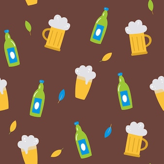Oktoberfest seamless vector pattern with a bottle of beera glass of beer leaves