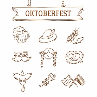 Набор октоберфест, пиво, усы, флажки, колбаса, шапка