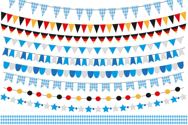 Oktoberfest set of flags, bunting, garland. october fest in germany collection of  elements.  on white background.  illustration.