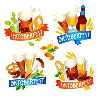 Oktoberfest set. isometric set of oktoberfest