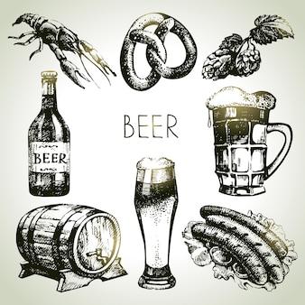 옥토버페스트 맥주 세트. 손으로 그린 삽화