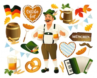 Oktoberfest set vector background.