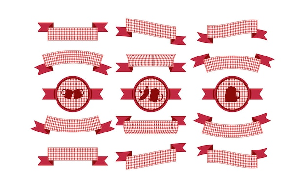 オクトーバーフェストのシンプルなリボンは、バイエルン色のバナーと見出しに設定されています。バーの赤いリボン。ベクター