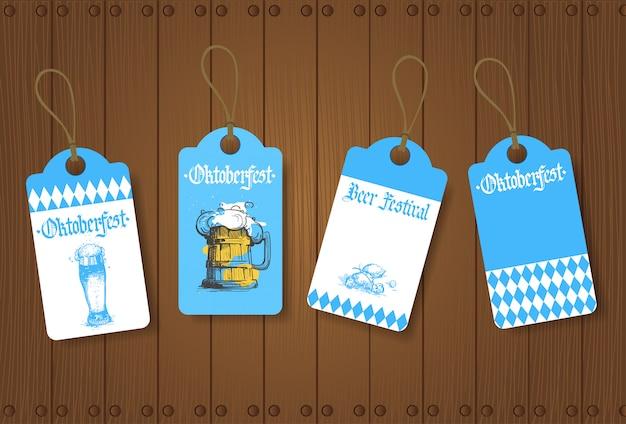 Oktoberfest tags or labels set german beer festival
