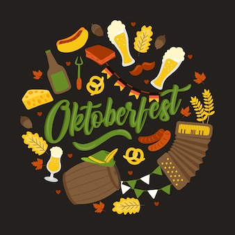 Oktoberfest. traditional german festival. fresh dark beer, pretzel, sausage, autumn leaf, flag, accordion, beer and flag
