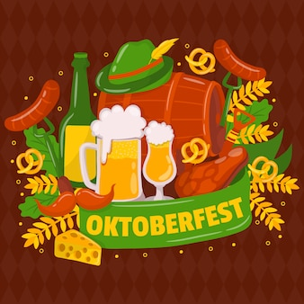 Oktoberfest. traditional german festival. mustache, fresh dark beer, pretzel, sausage, autumn leaf, flag, accordion, beer