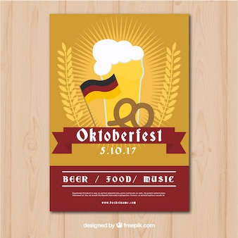 Oktoberfest traditional poster with flat design