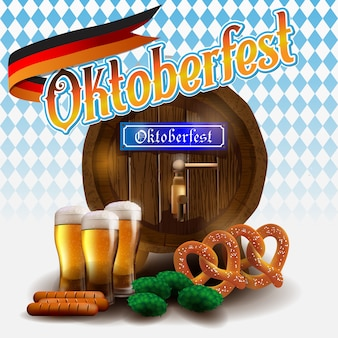 Oktoberfest vector illustration on blue white background.