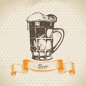 맥주와 함께 옥토버페스트 빈티지 배경입니다. 손으로 그린 그림