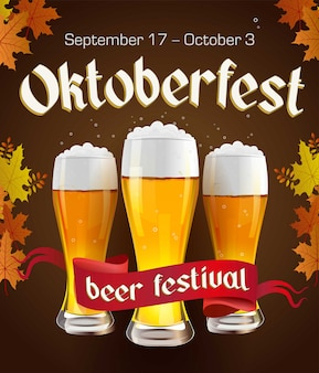 Oktoberfest vintage poster with beer and autumn leaves on dark background. octoberfest banner. gothic label