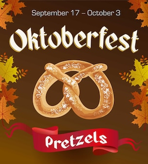 Oktoberfest vintage poster with pretzels and autumn leaves on dark background. octoberfest banner.