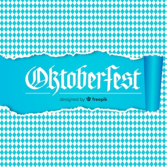 Oktoberfest white and blue background with ripped paper