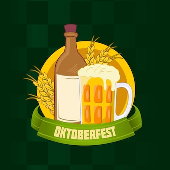Oktoberfest with beer bottle and wheat