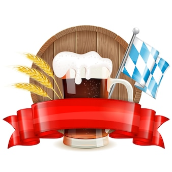 Oktoberfest with beer and ribbon