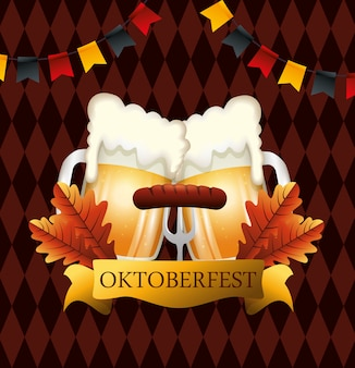 Oktoberfest with beers and sausage illustration