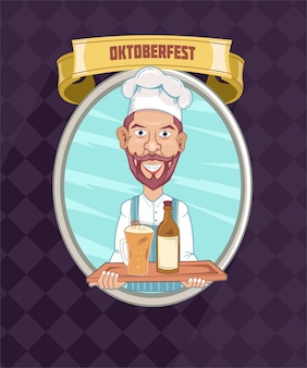 Oktoberfest with germany chef serve his beer