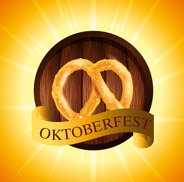 Oktoberfest with pretzel and ribbon illustration