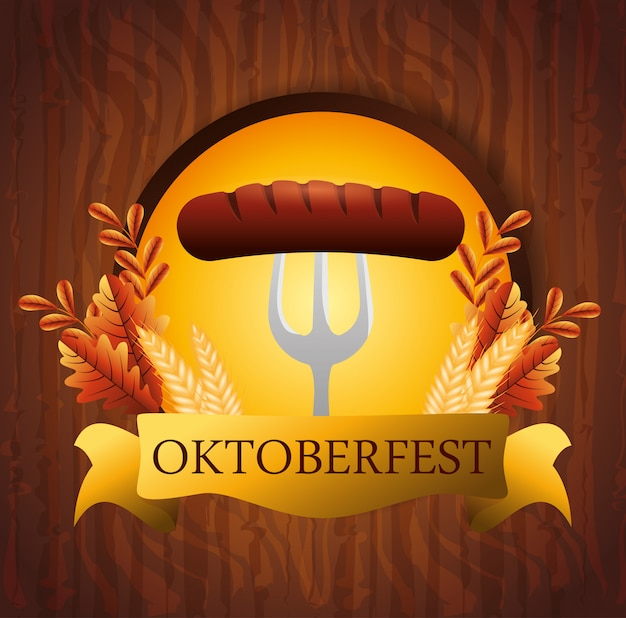Oktoberfest with sausage in fork illustration