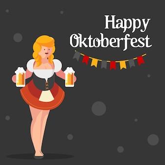 Oktoberfest with sexy girl banner illustration