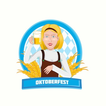 Oktoberfest with woman holding beer