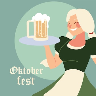 Oktoberfest woman cartoon with traditional cloth and beer design, germany festival and celebration theme illustration