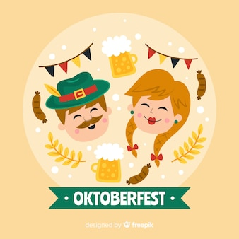 Oktoberfest woman and man laughing