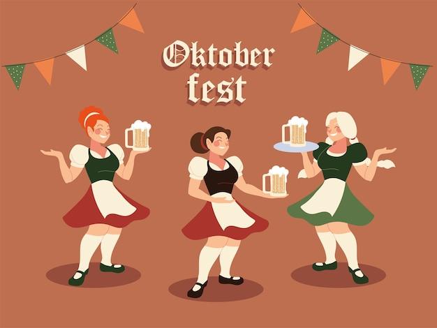 Женщины октоберфеста с традиционной тканевой иллюстрацией пивного вымпела, фестиваль и тема празднования германии