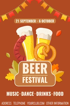 Oktoberfest. рекламный плакат для пивного фестиваля с бокалами с пивом, жареной колбасой и кренделем.