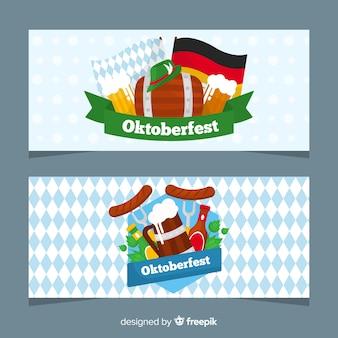 Современные баннеры oktoberfest с плоским дизайном