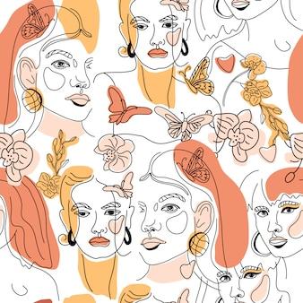 梨花のシームレスパターンに直面する最小限のラインスタイルol線画。幾何学的形状の抽象的な現代的な色のコラージュ。女性の肖像画。美容コンセプト、tシャツプリント、カード、ポスター、ファブリック。