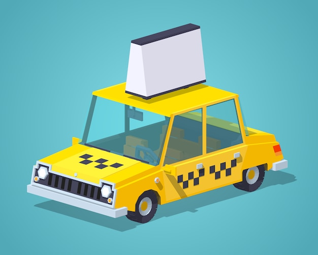 Old 3d lowpoly isometric sedan taxi