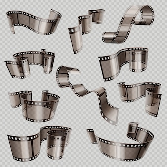 Old 3d movie film strip, foto slide isolated