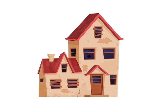 Old abandoned house building in cartoon style isolated on white