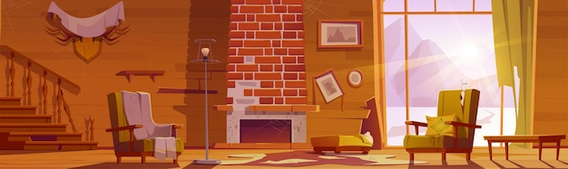 Old abandoned house with broken wooden staircase and fireplace cartoon illustration.