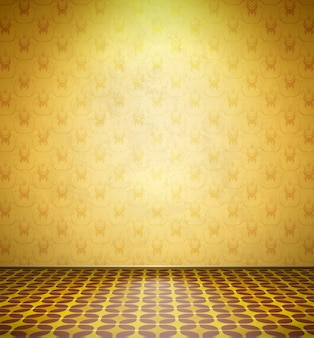 Old abandoned room with yellow wallpaper