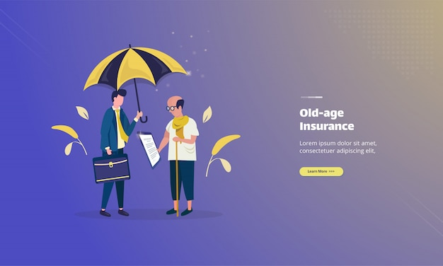 Old-age insurance agreement policy on illustration concept