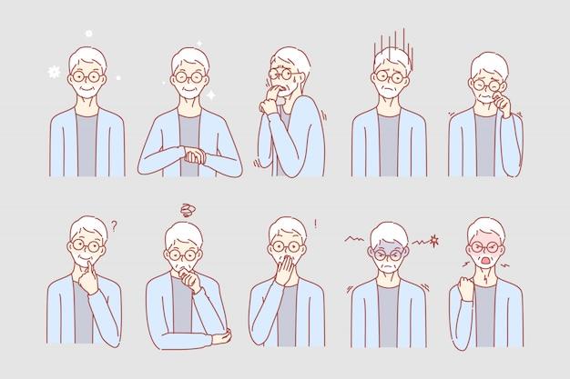 老人の感情と表情