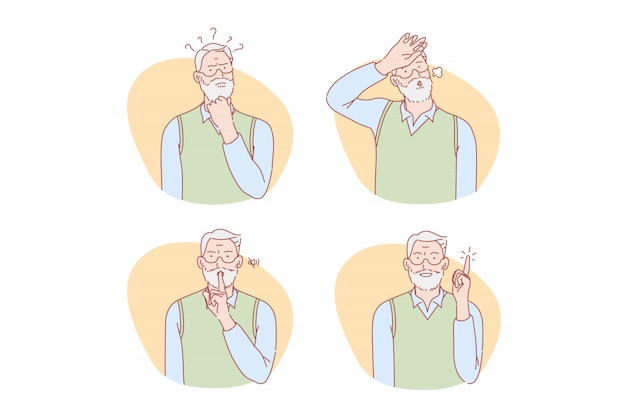 Old age, thinking, idea, silence, relief set illustration