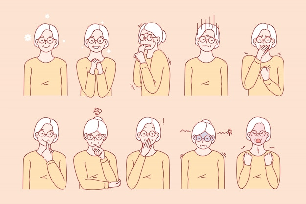 Old age womans emotions and facial expressions