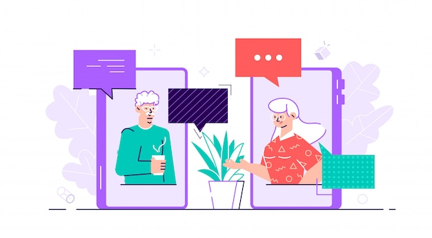 Old aged family couple man  woman communication using smart phone video call. elderly people talking, chatting, messaging, gossiping on social network topics. flat style  character illustration