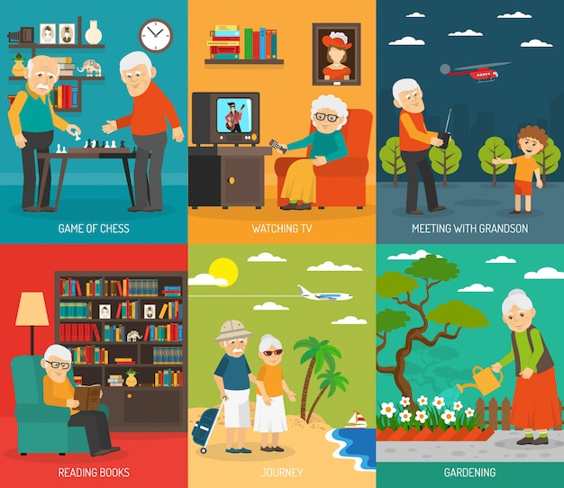Old aging people quality life element design composition  with  traveling and hobbies abstract illustration