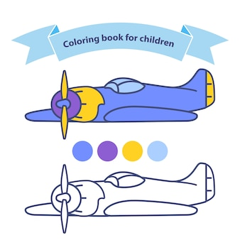 Old aircraft for coloring book for children