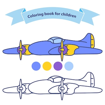 Old aircraft plane for coloring book for children