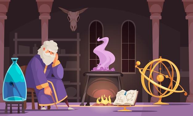 Vecchio alchimista che fa pozioni nell'illustrazione scura del fumetto del laboratorio