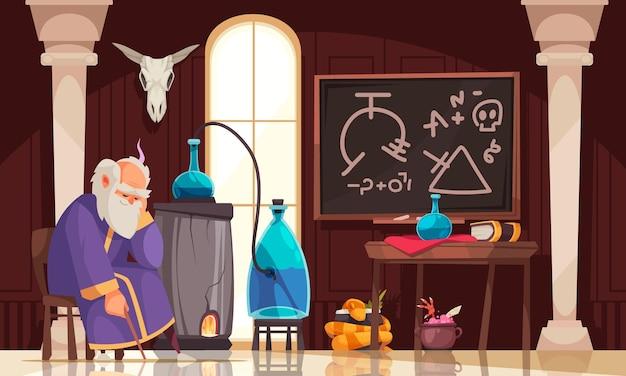 Старый алхимик сидит в своей лаборатории с колбами