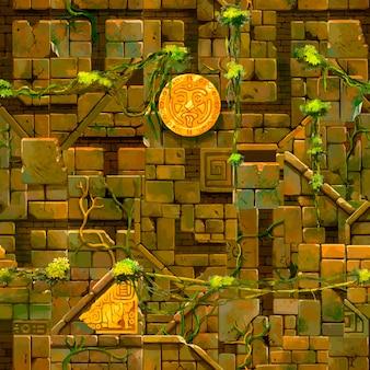 緑豊かなブドウの木、シームレスなパターンを持つ古い古代遺跡