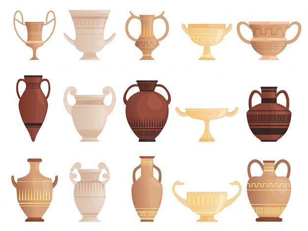 Старый древний сосуд. глиняные кувшины с чашками и амфоры с рисунком керамики античный кувшин векторные картинки