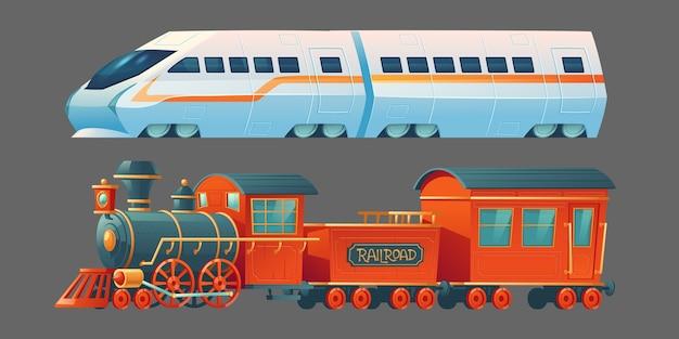 Старые и современные поезда, старинный паровой железнодорожный транспорт и современный локомотив метро, вид сбоку пригородного городского железнодорожного транспорта, изолированный на сером фоне. иллюстрации шаржа